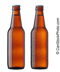 two beers - two bottles of beer, with and without water drop