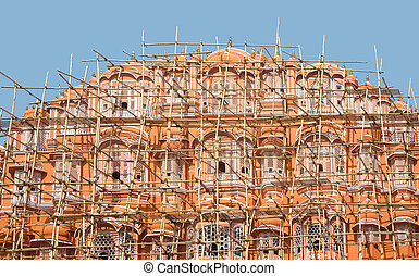 Hawa Mahal - facade with scaffolding at the Hawa Mahal...