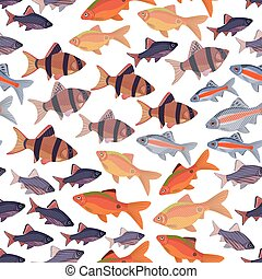 Seamless pattern fishes aquarium - Seamless pattern fishes...