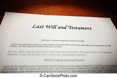 Last will and testament - Last Will and Testament document...