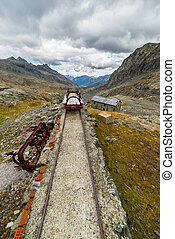 Obsolete railroad in the mountain - Old and damaged railroad...