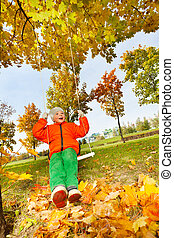 Boy sitting on swings, smiling during autumn day - Happy boy...