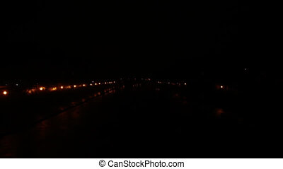 night rain - heavy rain at night over the Tiber River in...