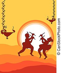 Shadow Art, Garba Dance Vector Art