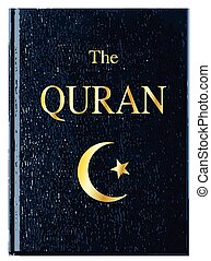 The Quran - The front cover of The Quran over a white...