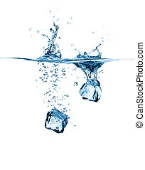 two ice cube dropping - ice cubes drop into water creating...
