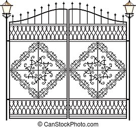 Wrought Iron Gate With Lamp
