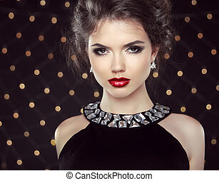 Makeup. Elegant woman. Jewelry and Hairstyle. Attractive...