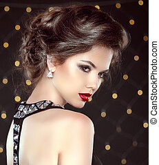 Elegant brunette woman lady with makeup and hairstyle...