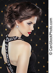 Elegant brunette woman lady with makeup and hairstyle....