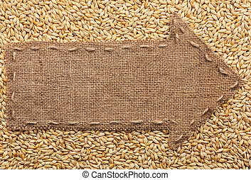 Pointer of burlap with place for your text, lying on a...