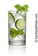 mojito - glass of mojito cocktail isolated on white...