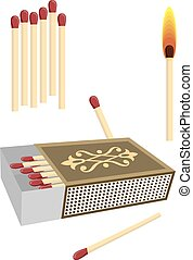 Matchbox With Matches Vector Art