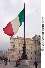 Italian flag - TRIESTE, ITALY - NOVEMBER, 03: View of...