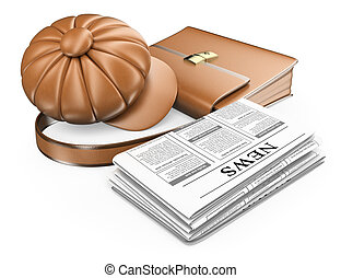 3D Cap briefcase and newspaper. Latest news concept....