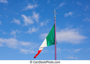 Italian flag - View of italian flag blowing in the wind