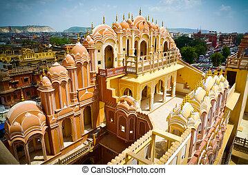 Hawa Mahal court facade top - Hawa Mahal palace (Palace of...