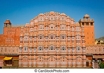 Hawa Mahal facade - Hawa Mahal palace (Palace of the Winds)...