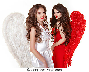 Attractive fashion beautiful angel girls with angel's wings....