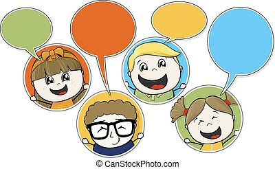 kids chat - little childs chatting vector illustration of...