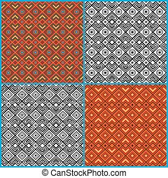 Four seamless ethnic patterns - Four different seamless...