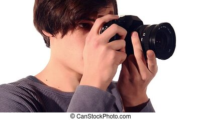 photographer on white background - young photographer on...