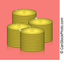 Vector money on red background. Eps10