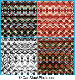 Four seamless ethnic motifs patterns - Four different...