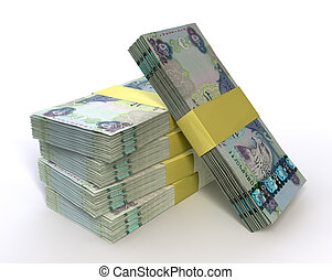 Stack Dirham Bank Notes - A stack of bundled dirham...