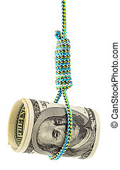 Money debt and credit Rolled dollars in a noose depicting...