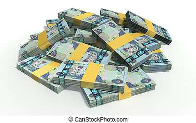 Dirham Notes Scattered Pile - A pile of randomly scattered...
