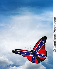 Confederate Rebel  flag butterfly flying on sky background