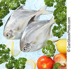 fresh fish on ice decorated with vegetables