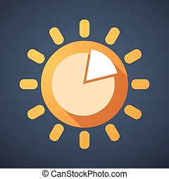Sun icon with a pie chart