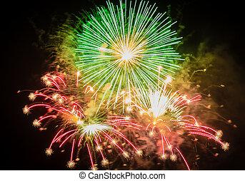 fogos artifício, para, Um, grande, Partido,
