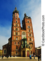 St Marys Basilica Mariacki Church gothic church in Cracow...