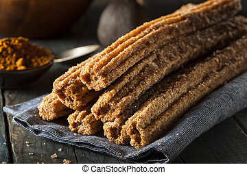 Homemade Deep Fried Churros with Cinnamon and Sugar