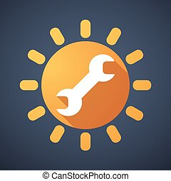 Sun icon with a monkey wrench - Illustration of a sun icon...