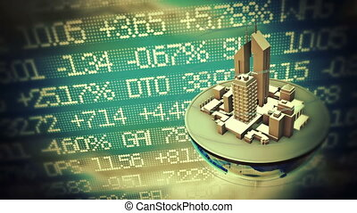 Urban world at stock market background. Loop animation.