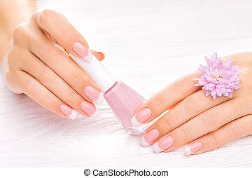 hermoso, blanco, francés, manicura