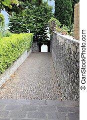 promenade on  Garda lake in northern Italy