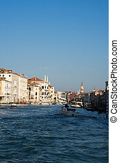 View down the Grand Canal, Venice looking towards the Rialto...