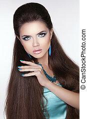 Beauty fashion brunette woman. Long hair styling. Beautiful woma