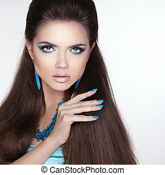 Beauty fashion brunette girl model with makeup, manicured...