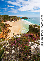 Porthcurno, Cornwall, UK. - Porthcurno beach in Cornwall,...