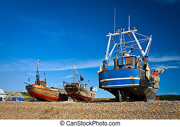 Harbour in Hastings, UK - Boats on a beach in Hastings, UK