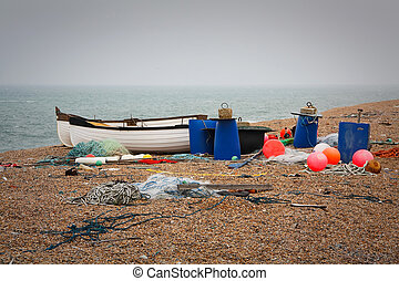 Fishing boats, Dorset, UK - Fishing boats and equipment on...