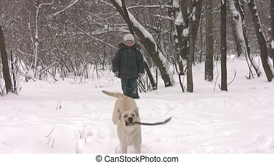 boy with dog in winter wood