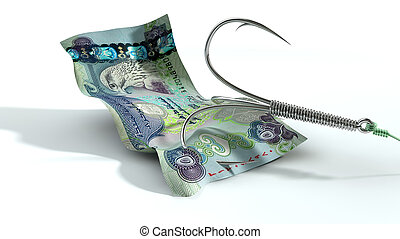 Dirham Banknote Baited Hook - A concept image showing a...