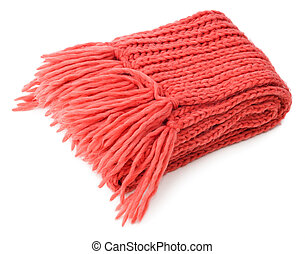 Red knitted scarf folded isolated on white background